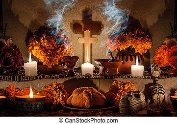 mexicain, muertos), autel, de, mort, (dia, jour