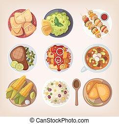 mexicain nourriture, icônes