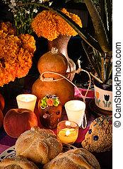 mexicain, offrande, muertos), autel, de, mort, (dia, jour