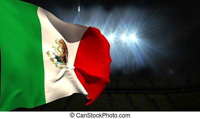 mexique, drapeau ondulant, national, grand