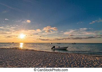 mexique, mujeres, exotique, coucher soleil, isla, plage