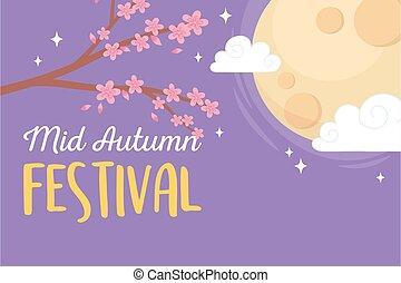 mi, ciel, fleurs, heureux, entiers, nuages, festival, automne, lune, branche, dessin animé, arbre, sakura