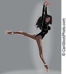 mi, noir, ballerine, collant, ballet, bronzé, pantoufles, fente, air, chevelure, beige
