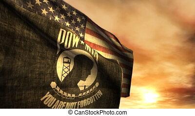 mia, pow, (1097), américain fléchit, coucher soleil