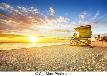 miami, sud, levers de soleil, plage
