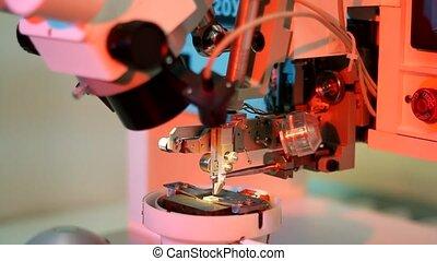 microélectronique, bonder, universel, équipement, travail, fil