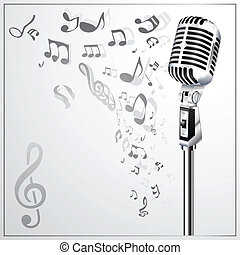 micro, musical, fond, retro