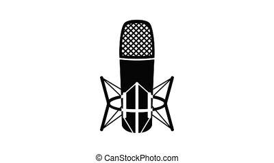 microphone, animation, icône, studio