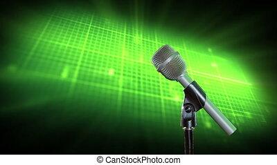 microphone, arrière-plan vert