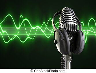 microphone, audio, vagues, &