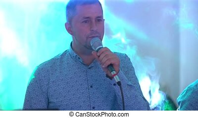microphone, chant, homme