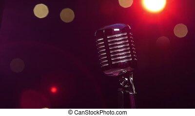 microphone, classique, contre, sombre, lumières, clair, fond, clignotant, flou