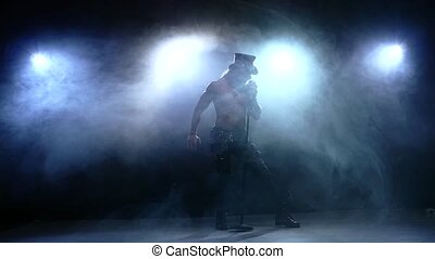 microphone, fumée, lent, bande, mouvement, chant, chanteur, rocher