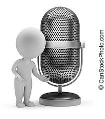microphone, gens, -, retro, petit, 3d