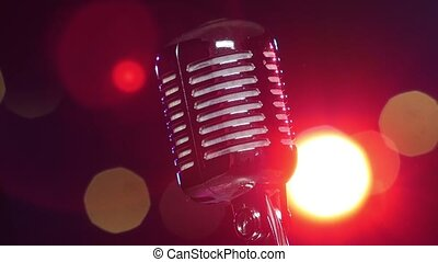 microphone, lent, contre, tourner, lumières, retro, clignotant, brillant, flou