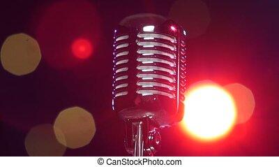 microphone, lights., gros plan, contre, tourner, retro, clignotant, brillant, flou