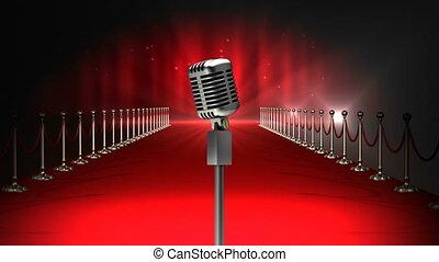 microphone, moquette, vidéo, rouges