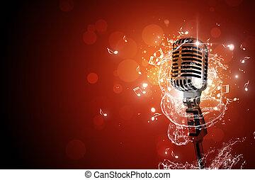 microphone, musique, retro, fond