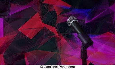 microphone, noir, plexus, fond, contre, réseaux