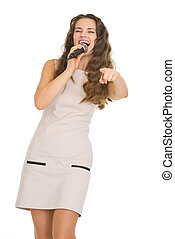 microphone, pointage femme, jeune, appareil photo, heureux