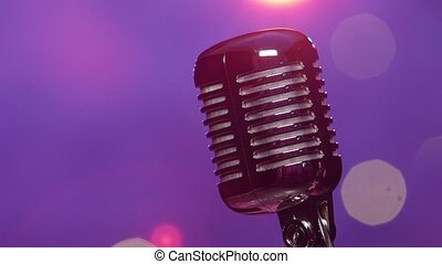 microphone, pourpre, contre, éclairage, retro, confetti, scintillement, flou, étape