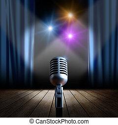 microphone, retro, étape