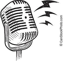 microphone, retro, croquis