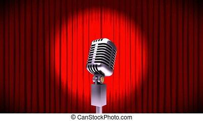 microphone, rideaux, rouges