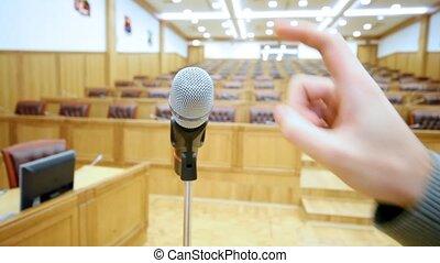 microphone, robinets, il, haut fin, main, salle