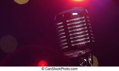 microphone, scintillement, vendange, contre, éclairage, reflète, confetti, clignotant, brillant, flou
