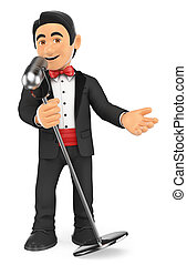 microphone., smoking, chanteur, crooner, 3d