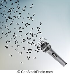 microphone, toile fond., isolated., résumé, objet, musical, musique note, fond, microphone.