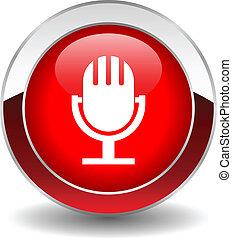 microphone, vecteur, bouton