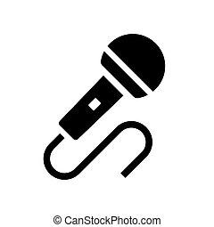 microphone, vecteur, icône, audio