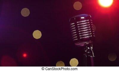 microphone, vendange, contre, sombre, lumières, clair, fond, clignotant, flou