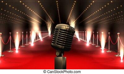 microphone, vidéo, américain, moquette, drapeau, rouges