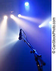 microphone, voix, attente, étape vide