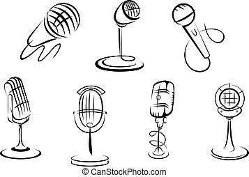 microphones, croquis, retro