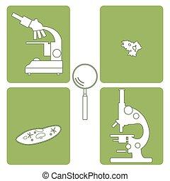 microscopes, icônes, symbole., stylisé, équipement, ciliate-slipper., amibe, loupe, laboratoire