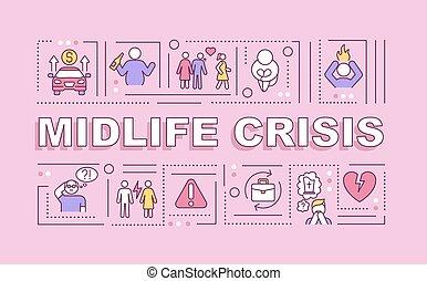 midlife, mot, crise, bannière, concepts