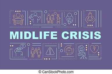 midlife, mot, prévention, crise, bannière, concepts