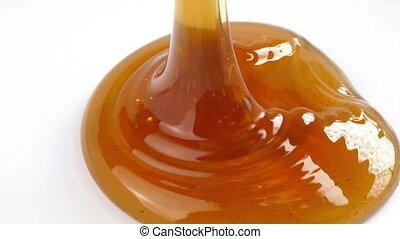miel, blanc, versé, surface