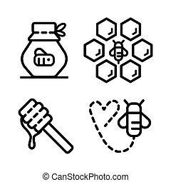 miel, contour, 2, icônes