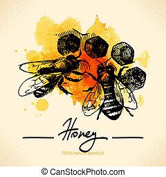 miel, croquis, illustration, main, aquarelle, fond, dessiné