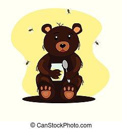 miel, cuillère, pot, ours, séance