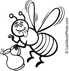 miel, dessin animé, livre coloration, abeille
