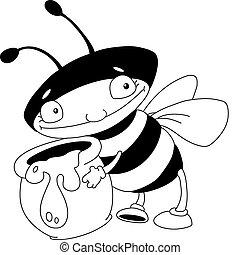 miel, esquissé, abeille