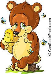 miel, mignon, petit, ours