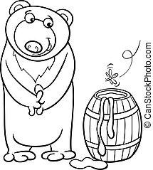 miel, page, dessin animé, ours, coloration