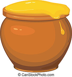 miel, pot, vecteur, dessin animé, illustration